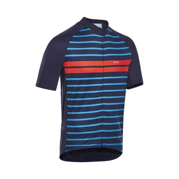Pánsky dres RC 100 s krátkym rukávom na cestnú cykloturistiku v lete modro-oranž v akcii za 13,99€