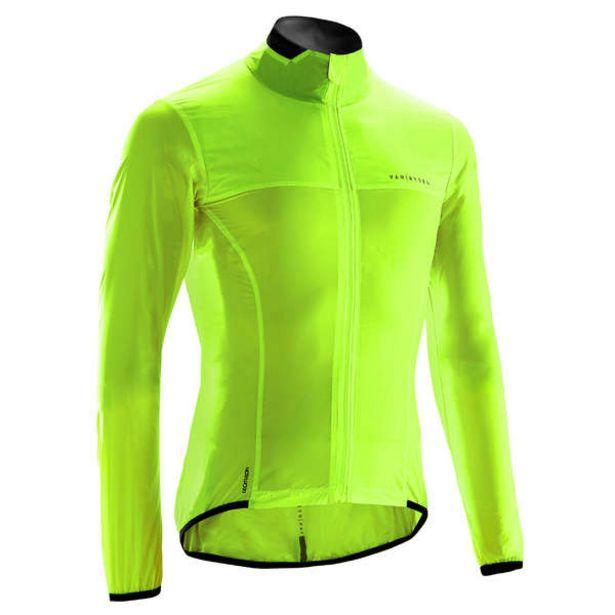 Pánska vetruvzdorná bunda Ultralight na cestný bicykel s dlhým rukávom žltá v akcii za 26,99€