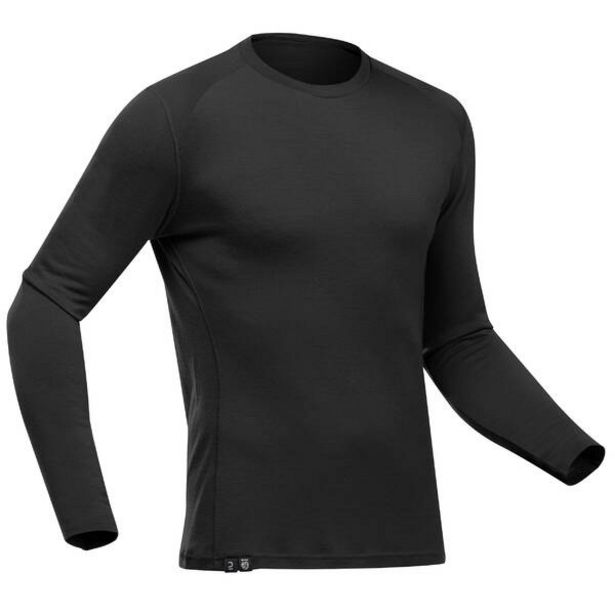 Pánske turistické tričko Trek 500 Pure merino s dlhým rukávom čierne v akcii za 34,99€