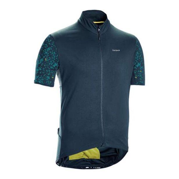 Pánsky dres na cestnú cyklistiku s krátkym rukávom RC500 Terrazzo petrolejový v akcii za 23,99€