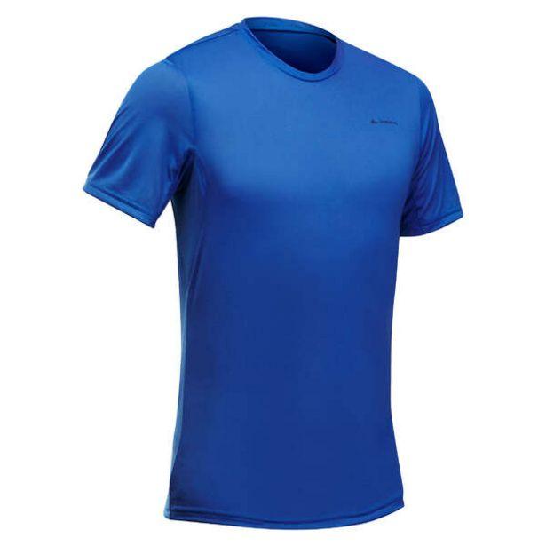 Pánske tričko MH 100 s krátkym rukávom na horskú turistiku modré v akcii za 4,99€