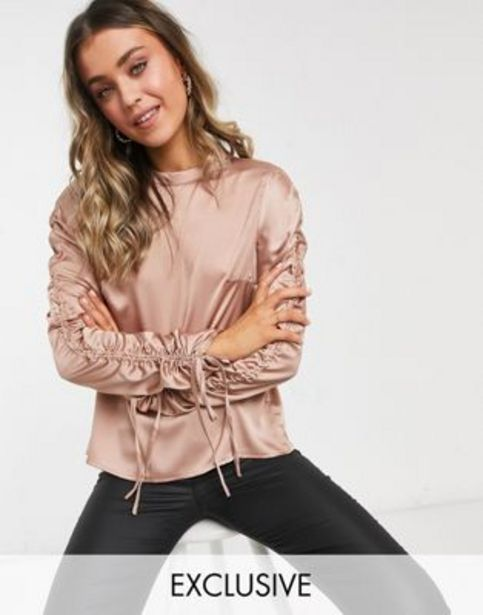 In The Style exclusive satin ruched sleeve top in rose v akcii za 9,9€