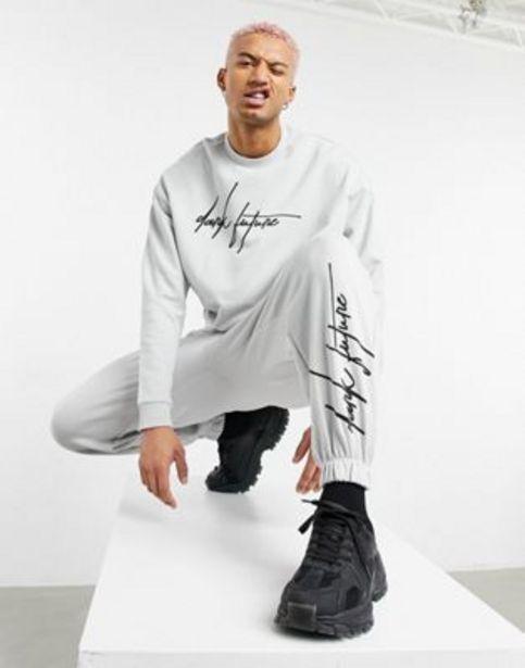 ASOS Dark Future co-ord oversized joggers in grey with logo print v akcii za 9,35€