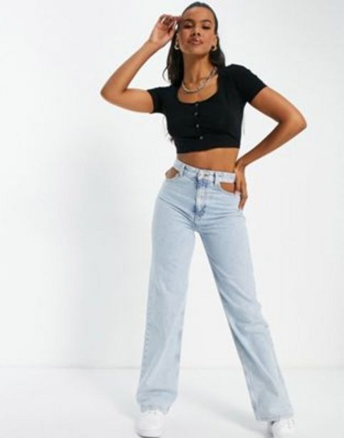 ASOS DESIGN fitted crop top with popper front in black v akcii za 6,5€