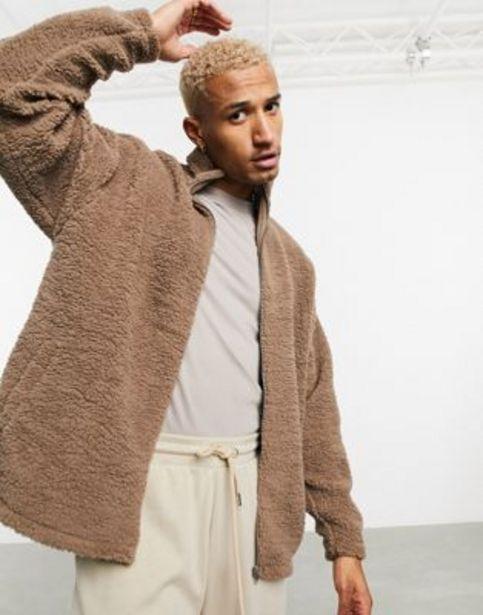ASOS DESIGN oversized track top in brown teddy borg v akcii za 14,85€