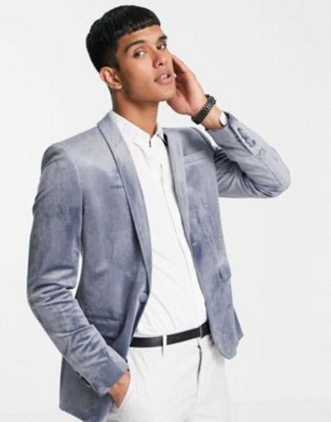 Topman skinny single breasted blazer in grey velvet v akcii za 69€